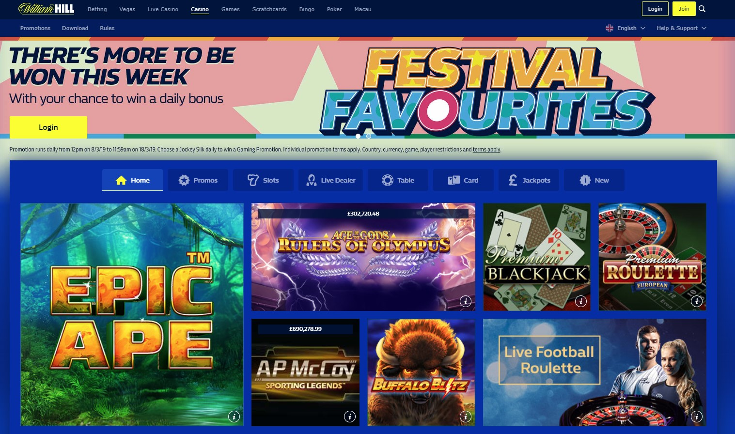 Casino William Hill page d'accueil